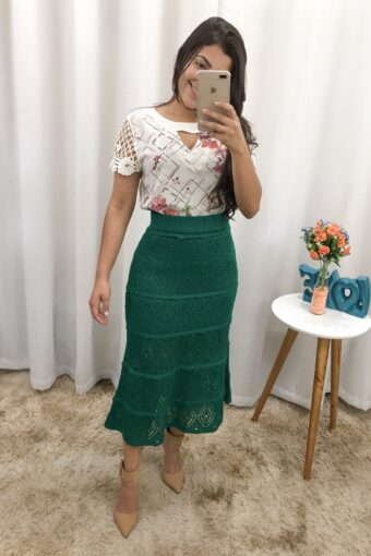 Saia Midi Tricot Verde em Áquila Tauheny Store   Moda Evangélica
