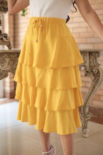 Saia Midi Yellow em Áquila Tauheny Store | Moda Evangélica