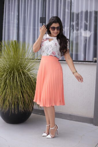 Saia Plissada Jany Pim em Áquila Tauheny Store | Moda Evangélica