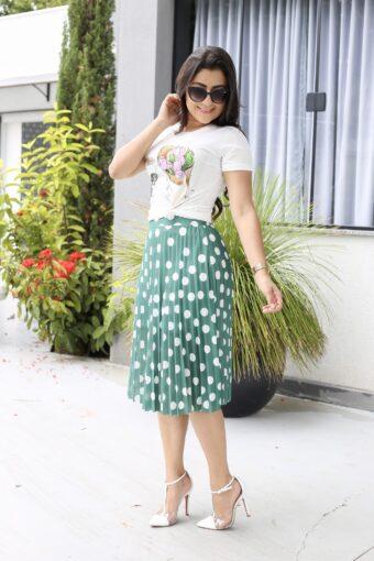 Saia Plissada Poá Verde em Áquila Tauheny Store | Moda Evangélica