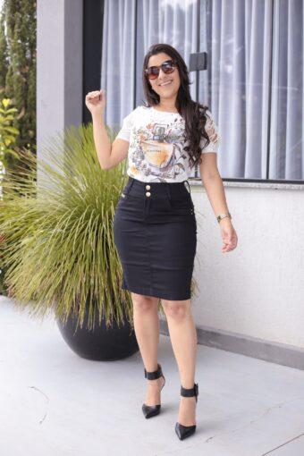 Saia Preta Secretária em Áquila Tauheny Store | Moda Evangélica