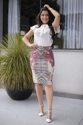 Saia Secretária Midi em Áquila Tauheny Store | Moda Evangélica