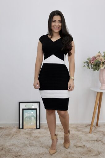Vestido Tricot Black & White | Moda Evangélica