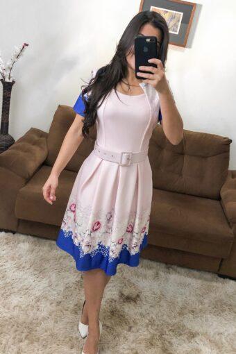 Vestido Godê Barrado Floral em Áquila Tauheny Store | Moda Evangélica