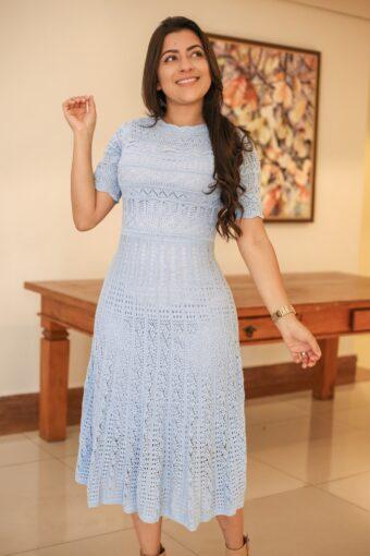Vestido Tricot Godê Azul em Áquila Tauheny Store | Moda Evangélica