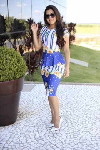 Vestido Peplum Estampado em Áquila Tauheny Store | Moda Evangélica
