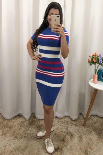 Vestido Tricot Azul Listrado em Áquila Tauheny Store | Moda Evangélica