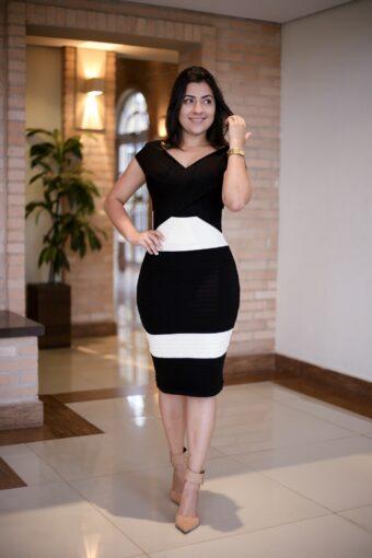 Vestido Tricot Black e White em Áquila Tauheny Store | Moda Evangélica