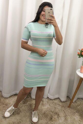 Vestido Tricot Listrado Mint em Áquila Tauheny Store | Moda Evangélica