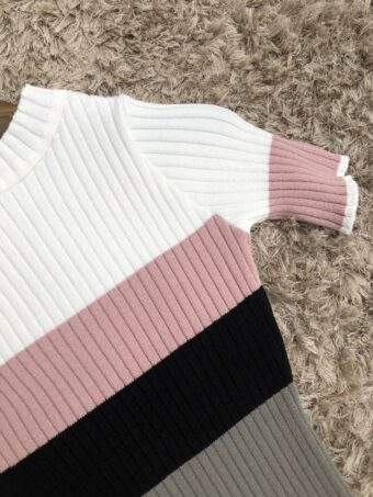 Vestido Tricot Listrado Rosê em Áquila Tauheny Store | Moda Evangélica