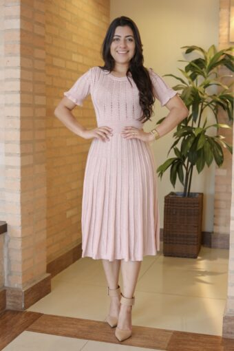 Vestido Tricot Lurex Rosê em Áquila Tauheny Store | Moda Evangélica