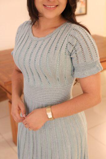 Vestido Tricot Lurex Verde Água em Áquila Tauheny Store   Moda Evangélica