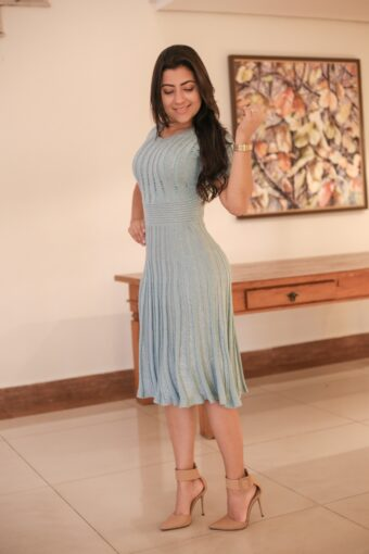 Vestido Tricot Lurex Verde Água em Áquila Tauheny Store | Moda Evangélica