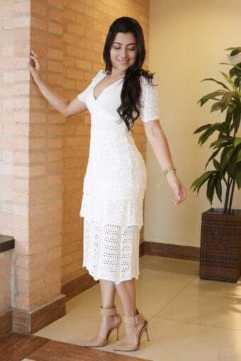 Vestido Tricot Off White em Áquila Tauheny Store | Moda Evangélica