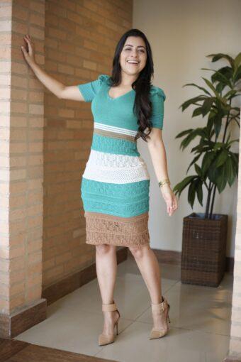 Vestido Tricot Tubinho Lurex em Áquila Tauheny Store   Moda Evangélica
