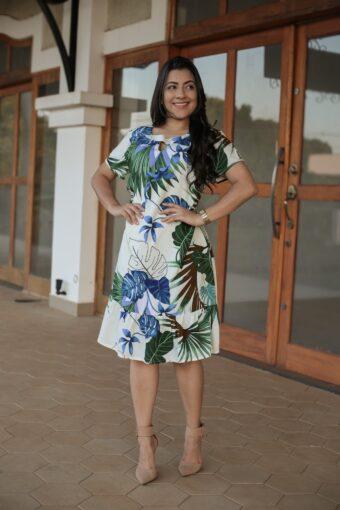 Vestido Viscose Estampado Azul em Áquila Tauheny Store | Moda Evangélica