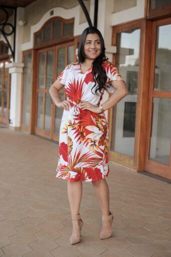 Vestido Viscose Estampado Vermelho em Áquila Tauheny Store | Moda Evangélica