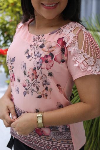 Blusa Rosa Crepe Seda em Áquila Tauheny Store | Moda Evangélica