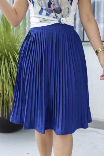 Saia Plissada Azul em Áquila Tauheny Store | Moda Evangélica