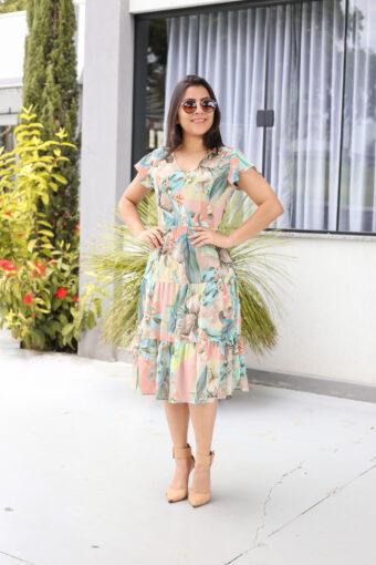 Vestido Crepe Floral Babado em Áquila Tauheny Store   Moda Evangélica