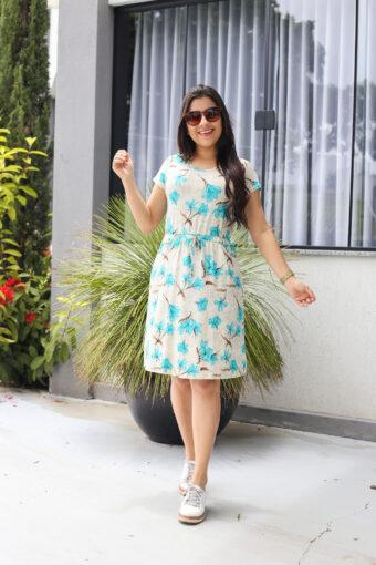 Vestido Malha Estampado Floral em Áquila Tauheny Store   Moda Evangélica