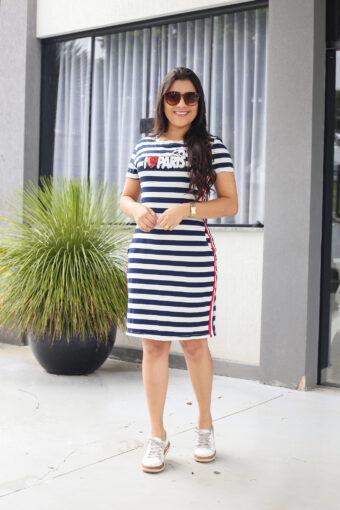 Vestido Malha Listrado em Áquila Tauheny Store | Moda Evangélica