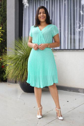 Vestido Plissado Poá em Áquila Tauheny Store | Moda Evangélica