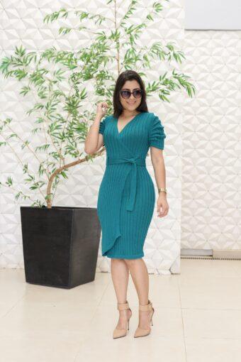 Vestido Tricot Verde Transpassado em Áquila Tauheny Store | Moda Evangélica