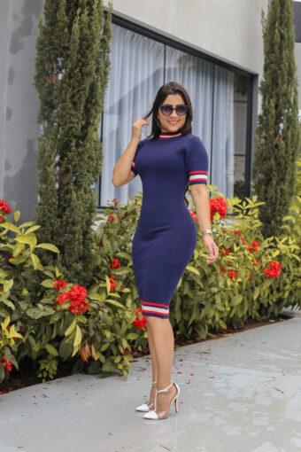 Vestido Tricot Azul Marinho em Áquila Tauheny Store   Moda Evangélica