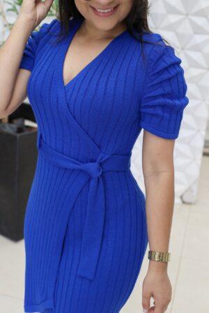 Vestido Tricot Transpassado Azul
