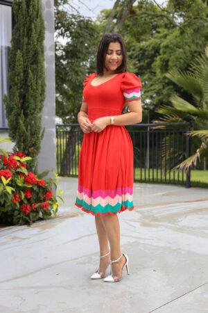 Vestido Tricot Godê Vermelho