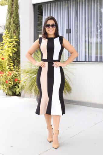 Vestido Tricot Regata Preto e Branco em Áquila Tauheny Store | Moda Evangélica
