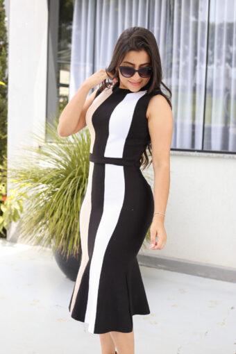 Vestido Tricot Regata Preto e Branco em Áquila Tauheny Store   Moda Evangélica