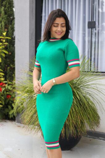 Vestido Tricot Verde Tubinho em Áquila Tauheny Store | Moda Evangélica