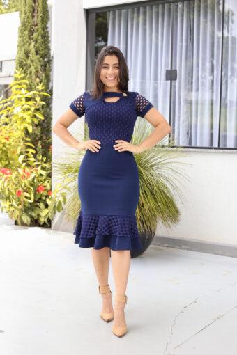Vestido Tubinho Azul em Áquila Tauheny Store | Moda Evangélica