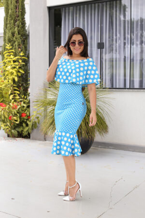 Vestido Tubinho Poá Azul