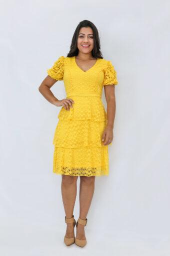 Vestido Amarelo Renda em Áquila Tauheny Store   Moda Evangélica