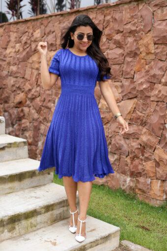 Vestido Tricot Azul Lurex em Áquila Tauheny Store | Moda Evangélica