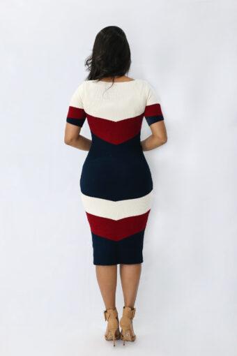Vestido Tricot Azul Vermelho Midi em Áquila Tauheny Store | Moda Evangélica