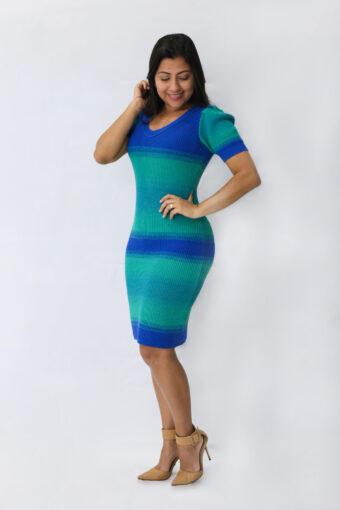 Vestido Tricot Listrado Verde em Áquila Tauheny Store | Moda Evangélica