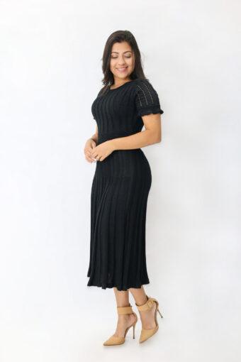 Vestido Tricot Preto Lurex em Áquila Tauheny Store | Moda Evangélica