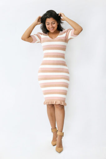 Vestido Tubinho Rosê Listrado em Áquila Tauheny Store | Moda Evangélica