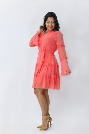 Vestido Tule Coral em Áquila Tauheny Store   Moda Evangélica