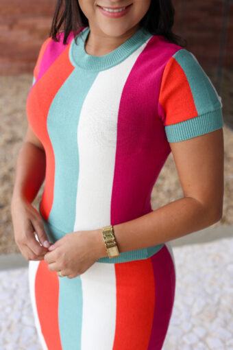 Conjunto Tricot Listrado em Áquila Tauheny Store | Moda Evangélica