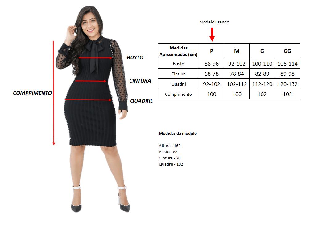 Tabela com medidas do produto e medidas da modelo | Vestido Jeans Godê