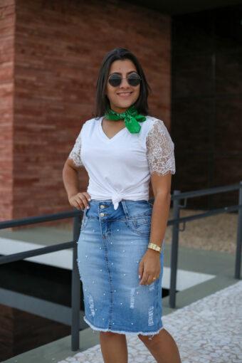 Saia Jeans Pérola em Áquila Tauheny Store | Moda Evangélica