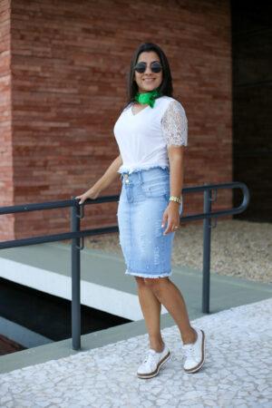 Saia Jeans Pérola Destroyd em Áquila Tauheny Store | Moda Evangélica