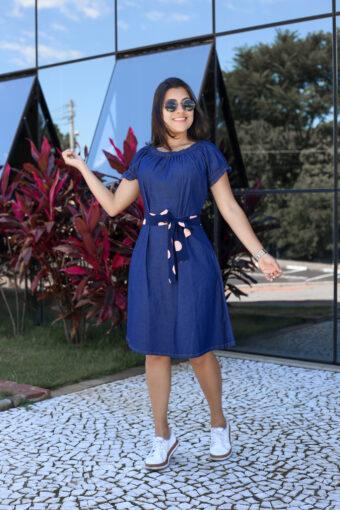 Vestido Jeans Evasê em Áquila Tauheny Store | Moda Evangélica