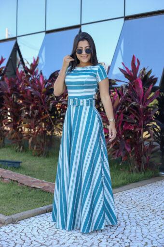 Vestido Longo Malha Listrado em Áquila Tauheny Store | Moda Evangélica