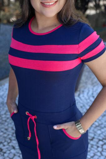 Vestido Jeans Malha Azul Rosa em Áquila Tauheny Store | Moda Evangélica